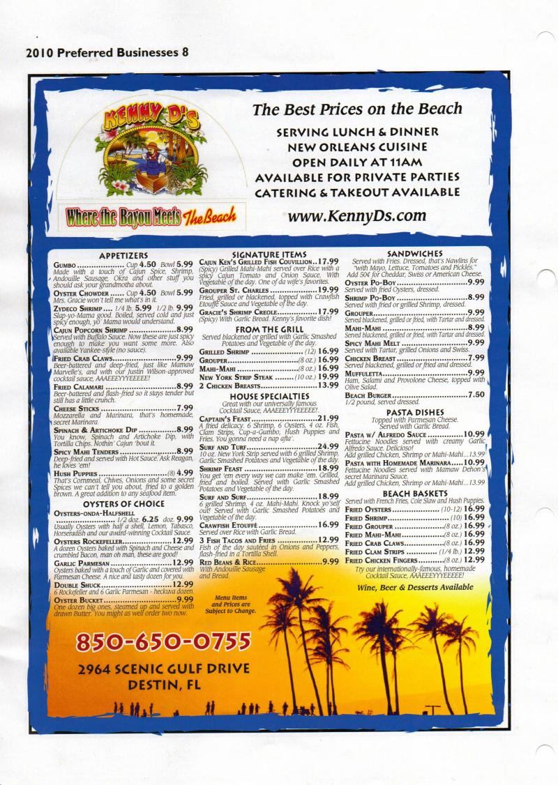 KennyD's Menu